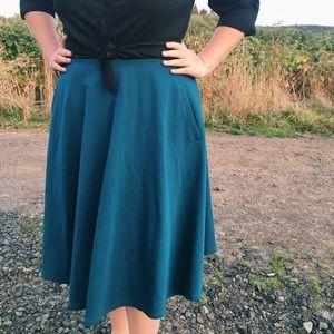 Teal A-line Midi Skirt